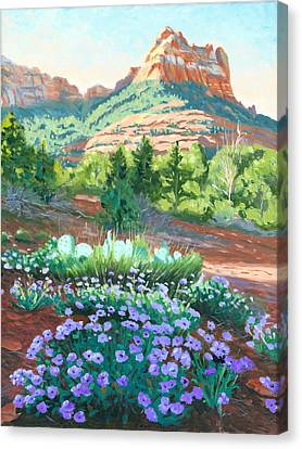 Verbena In Bloom Canvas Print by Steve Simon