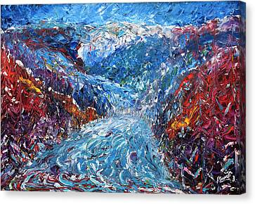 Verbier Pistes In The Trees Painting Canvas Print