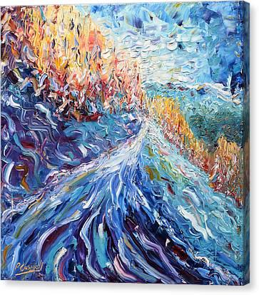 Verbier Pistes Skiing Painting  Canvas Print