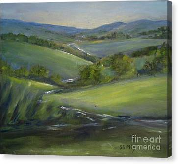 Canvas Print featuring the painting Verdant Hills Of New York by Sally Simon