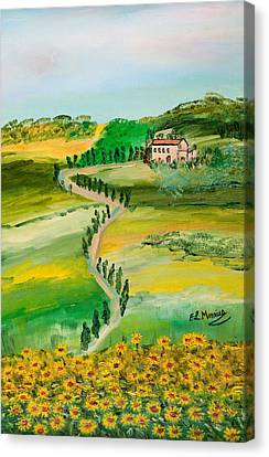 Canvas Print featuring the painting Verde Sentiero by Loredana Messina