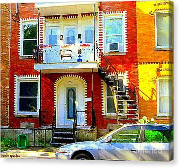 Verdun City Street Triplex Apartment Outdoor Winding Stairs Montreal Scenes Primary Colors C Spandau Canvas Print by Carole Spandau