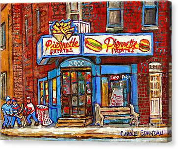 Verdun Famous Restaurant Pierrette Patates - Street Hockey Game At 3900 Rue Verdun - Carole Spandau Canvas Print by Carole Spandau