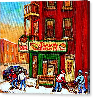 Verdun Street Hockey Pierrettes Restaurant Rue 3900 Verdun -landmark Montreal Hockey Art Work Scenes Canvas Print by Carole Spandau