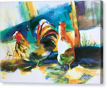 Veridian Chicken Canvas Print by Kathy Braud