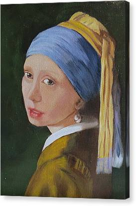 Canvas Print featuring the painting Vermeer Study by Sharon Schultz