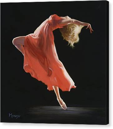 Ballet Dancers Canvas Print - Vermilion by Roseann Munger