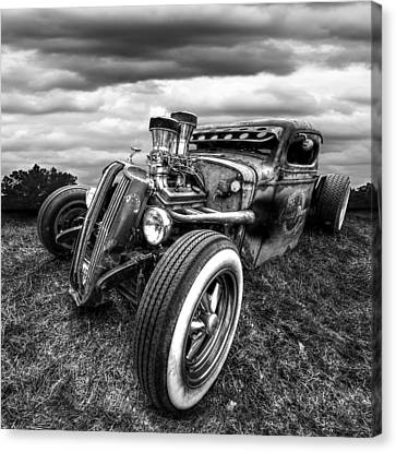 Vermin's Diner Rat Rod Front In Black And White Canvas Print by Gill Billington