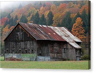 Vermont Barn And Fall Foliage   Canvas Print by Juergen Roth