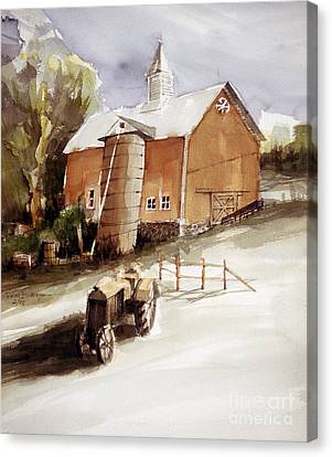 Vermont Barn With Wooden Silo Canvas Print