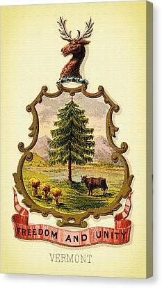 Vermont Coat Of Arms - 1876 Canvas Print by Mountain Dreams