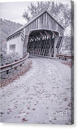 Country Lanes Canvas Print - Vermont Covered Bridge by Edward Fielding