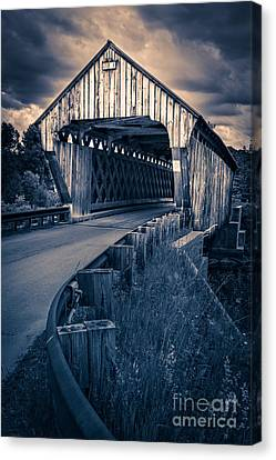 Vermont Covered Bridge In Moonlight Canvas Print by Edward Fielding