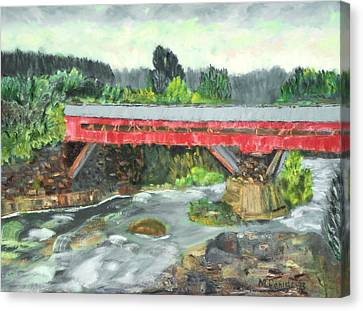 Vermont Covered Bridge Canvas Print by Michael Daniels