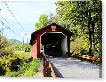 Canvas Print featuring the photograph Vermont Covered Bridge by Trina  Ansel