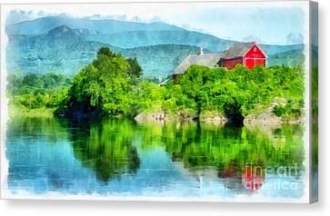 Vermont Farm Along The Connecticut River Canvas Print by Edward Fielding