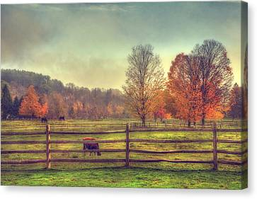 Vermont Farm In Autumn Canvas Print by Joann Vitali