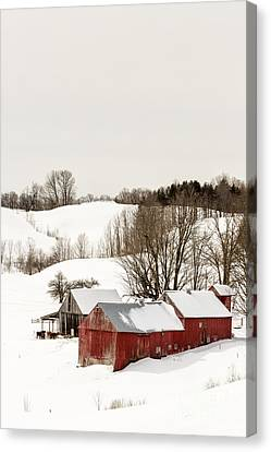 Vermont Farm Scene In Winter Canvas Print by Edward Fielding