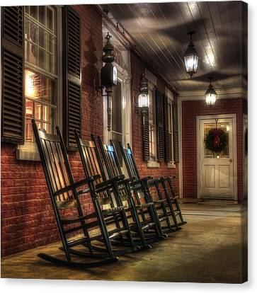 Vermont Front Porch With Rocking Chairs Canvas Print