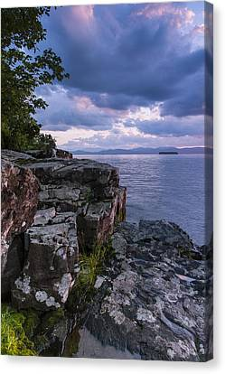 Vermont Lake Champlain Sunset Clouds Shoreline Canvas Print by Andy Gimino