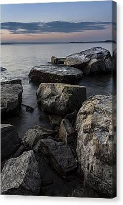 Vermont Lake Champlain Sunset Cloudscape Rocks Canvas Print