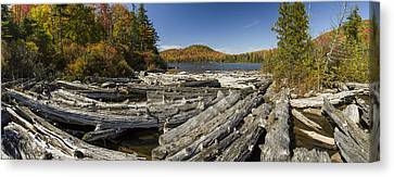 Vermont Kettle Pond Panorama Autumn Forest Canvas Print by Andy Gimino