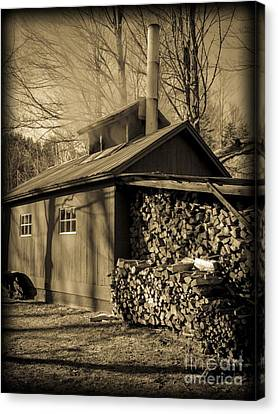 Vermont Maple Sugar Shack Circa 1954 Canvas Print by Edward Fielding