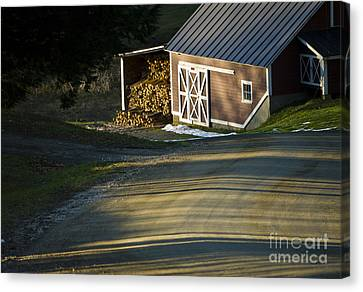 Vermont Maple Sugar Shack Sunset Canvas Print by Edward Fielding
