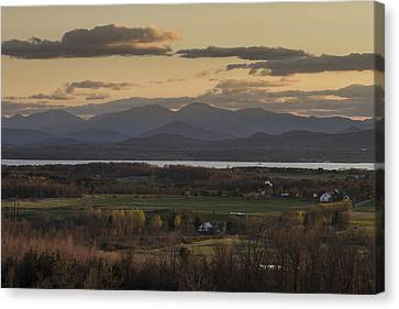 Vermont New York Sunset Lake Champlain Mountains Canvas Print by Andy Gimino