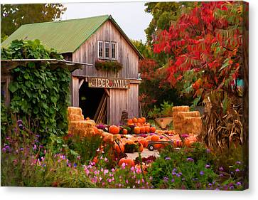 Canvas Print featuring the photograph Vermont Pumpkins And Autumn Flowers by Jeff Folger