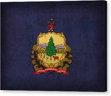 Vermont State Flag Art On Worn Canvas Canvas Print by Design Turnpike