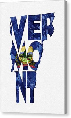 Vermont Typographic Map Flag Canvas Print by Ayse Deniz