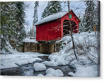 Vermonts Moseley Covered Bridge Canvas Print by Jeff Folger