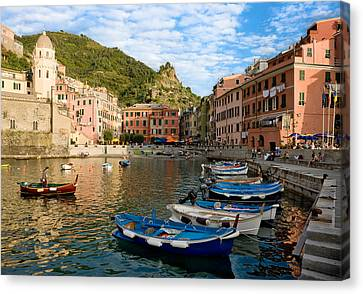 Canvas Print featuring the photograph Vernazza Boatman - Cinque Terre Italy by Carl Amoth