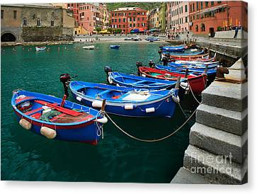 Port Town Canvas Print - Vernazza Boats by Inge Johnsson