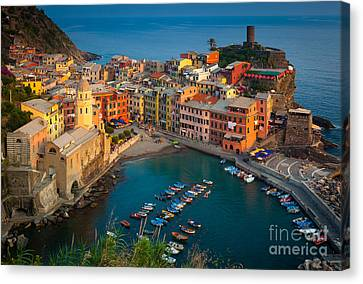 Port Town Canvas Print - Vernazza Pomeriggio by Inge Johnsson