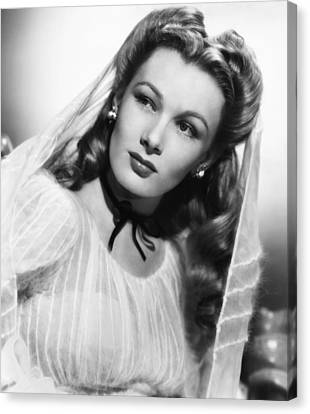 1940s Hairstyles Canvas Print - Veronica Lake, Ca. 1944 by Everett
