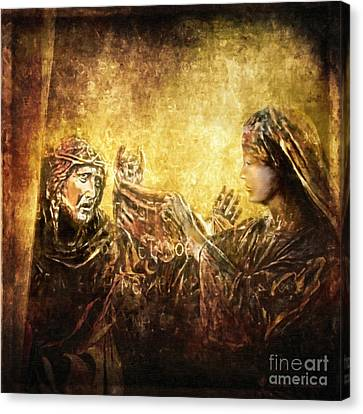 Veronica Wipes His Face Via Dolorosa 6 Canvas Print by Lianne Schneider