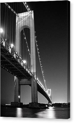 Verrazano Bridge At Night - Black And White Canvas Print by Gary Heller