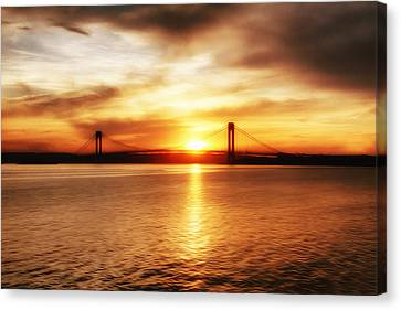 Verrazano Bridge At Sunset Canvas Print by Boris Mordukhayev