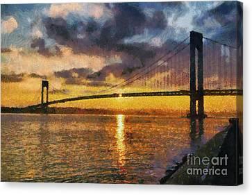 Verrazano Bridge During Sunset Canvas Print