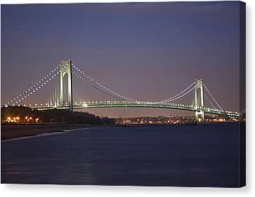 Verrazano Narrows Bridge At Night Canvas Print