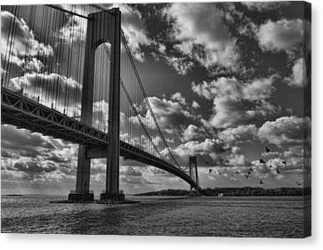 Verrazano Narrows Bridge In Bw Canvas Print by Terry Cork