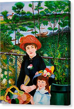 Version Of Renoir's Two Sisters On The Terrace Canvas Print by Cyril Maza