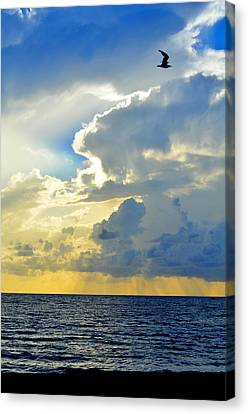 Clouds Over Sea Canvas Print - Vertical Horizon by Laura Fasulo