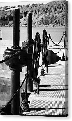 Vertical Newry Ship Canal Lock Gates And Controls At The Newly Refurbished Victoria Lock At Carlingford Lough Canvas Print by Joe Fox