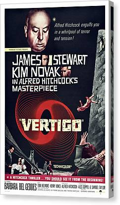 Films By Alfred Hitchcock Canvas Print - Vertigo, Us Poster Art, From Top Alfred by Everett