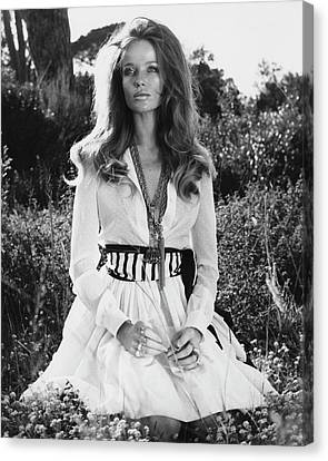Veruschka Von Lehndorff Sitting In Tall Dress Canvas Print by Franco Rubartelli