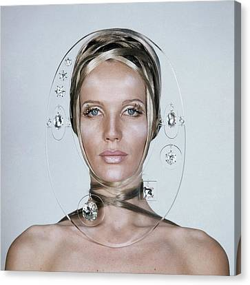 Veruschka Von Lehndorff's Face Framed By Clear Canvas Print by Franco Rubartelli