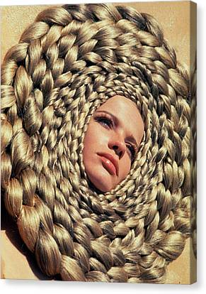 Braids Canvas Print - Veruschka Von Lehndorff's Head Surrounded by Franco Rubartelli